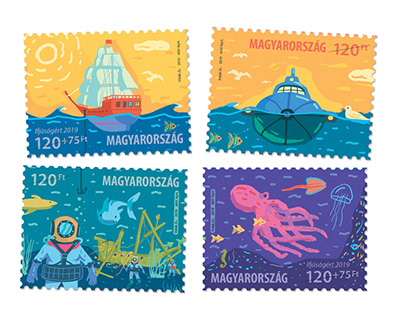 Stamp design. Jules Verne - Captain Nemo