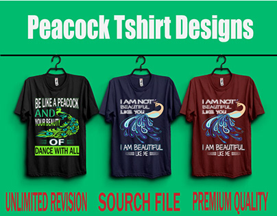 """This is new """"Peacock"""" T-shirt Designs Bundle."""