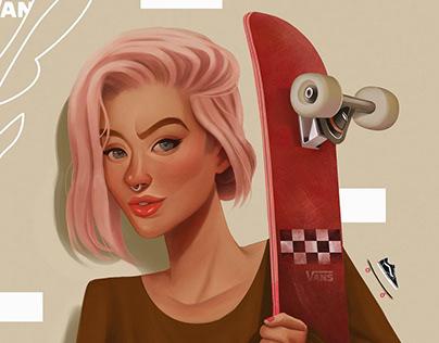 Digital Illustration Art Skating