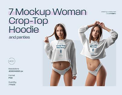 7 Mockups Woman Crop-Top Hoodie & Panties + 1 FREE
