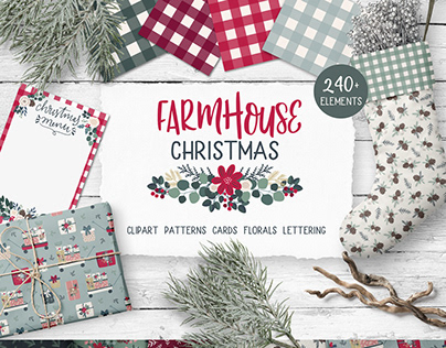 Farmhouse Christmas illustration and pattern collection