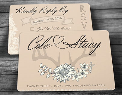 Country Chic Wedding Invitation & RSVP Postcard Set