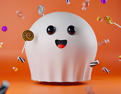 3D project. Halloween theme. Nice ghost.