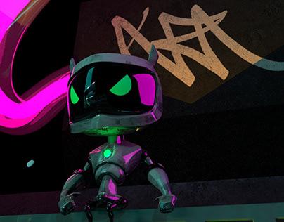 Cyberpunk 3D Scene process