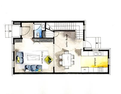 Real Estate Watercolor 2D Floor Plans Part 2
