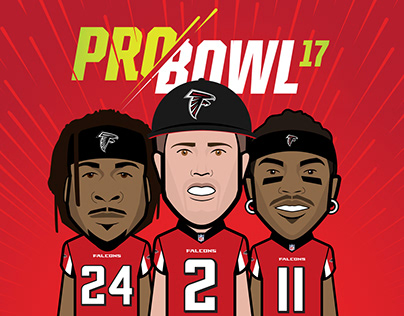 Atlanta Falcons Pro Bowl Announcement Graphics 2016-17