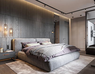 bedroom in contemporary style with loft elements.