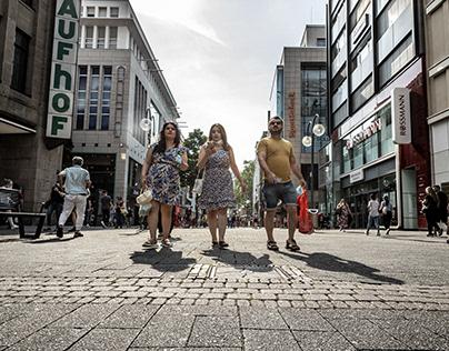 People walking in street after quarantine