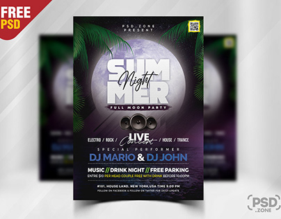Summer Full Moon Party Flyer PSD