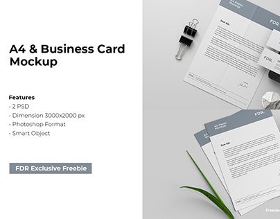 A4 And Business Card Mockup