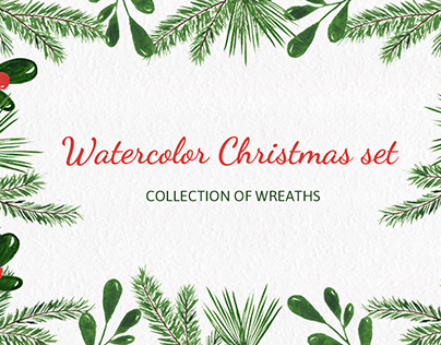 Christmas watercolor wreaths collection.