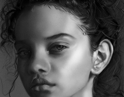 Digital illustration: b&w portrait.