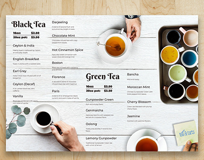 Tea House menu design
