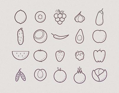 Fruits and veggies icon set