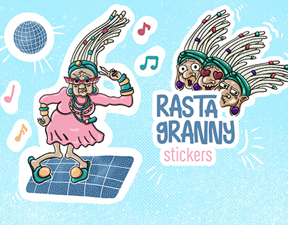 Rasta Granny character design and stickers