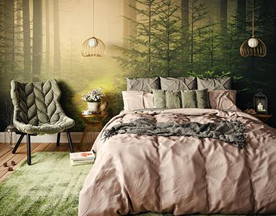 Bedroom in the misty forest v.2
