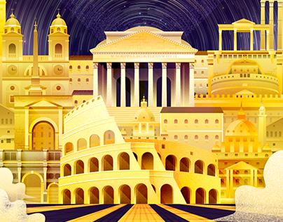The llustration of city(Golden)