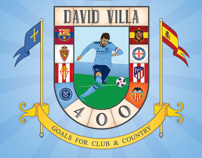 David Villa 400 Career Goals Poster
