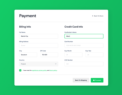 Credit Card Payment - Weekly UI 002