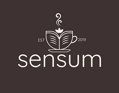 Coffee &book and flower logo design