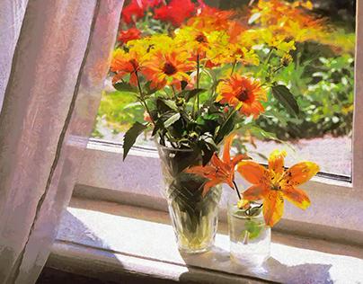 Yellow flowers on the window