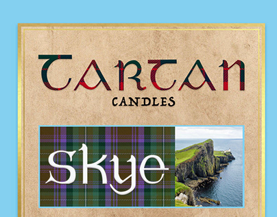 Tartan scented candle labels