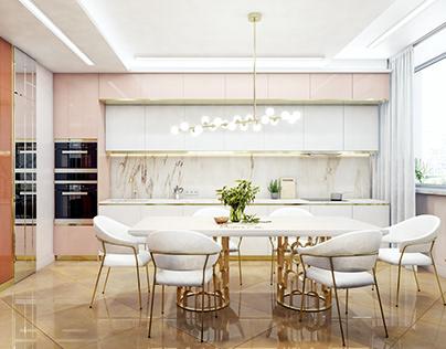 Modern luxury interior design Living room Kitchen