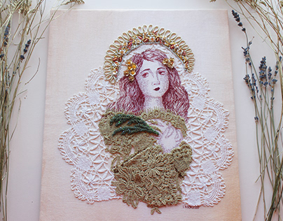 Portrait of St Lucy/ Hand Embroidery