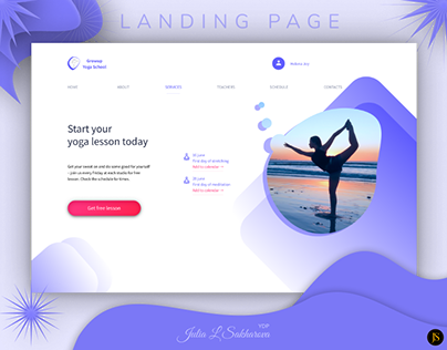 Landing page yoga school