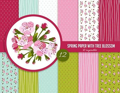 Spring Digital Paper Set with Cherry Blossom Clip Art