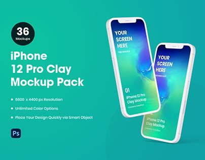 iPhone 12 Pro Clay Mockup Pack | 36 Mockup Scenes