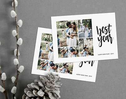 New Year Minimalist Photo Card Template - Best Year