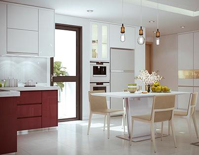 Mẫu nội thất căn hộ Masteri hiện đại 3 phòng ngủ 100m2