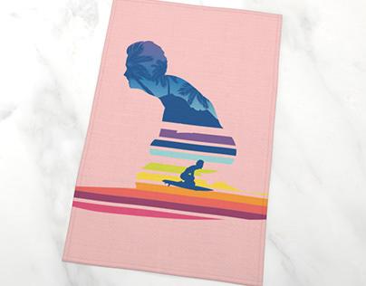 Rainbow tropical waves surfing man