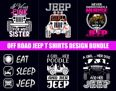 Off Road Jeep T-Shirts Design Bundle