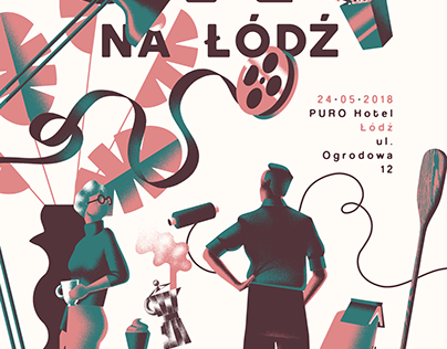"Poster for the upcoming event ""Oko na Łódź"""