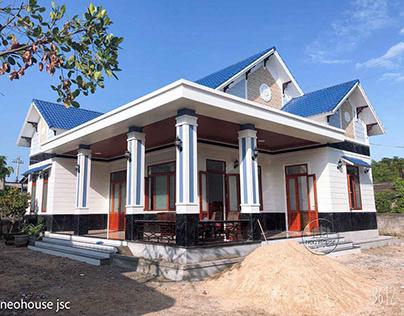 Thi công xây dựng biệt thự vườn 1 tầng mái thái tại Huế