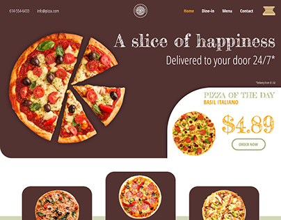 Pizza delivery website design