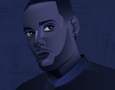 Good In Blue Illustration Portrait