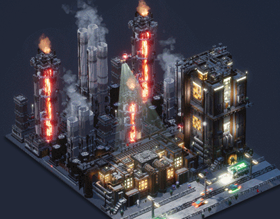 Voxelart Dioramas - Industries of Titan