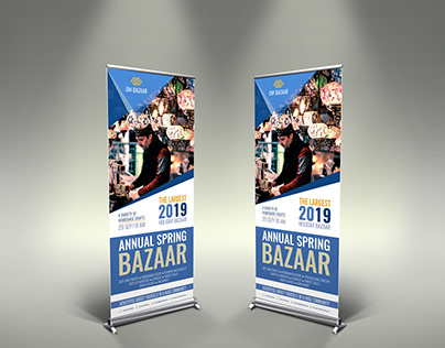 Bazaar Signage Roll Up Banner Template