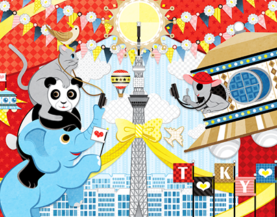 Sightseeing of alien and animals inTokyo (Remake)