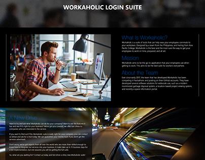 Workaholic Login Suite Website Concept