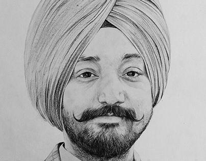 A SIKH MAN- Pencil Sketch by Artist Kamal Nishad