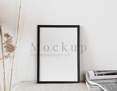 Black Photo Frame Mockup With Fasion Journal