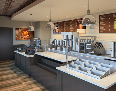 Architectural 3D Renderings - Peet's Coffee
