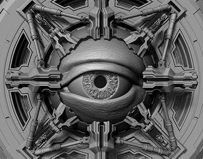 Huge eye in a mechanical shell