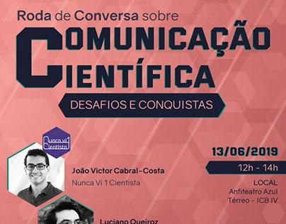 """Cartaz """"Roda de Conversa sobre Comunicação Científica"""""""