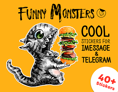Funny Monsters — Stickers for iMessage & Telegram