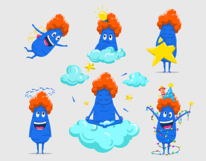 Blue Carrot Stickers Pack